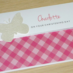Girls Christening Day card - personalised with name