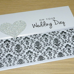 Wedding Day card - black & silver