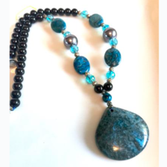 Genuine Blue Crazy Lace Agate, Onyx, Pearl, Blue Crystal & Lace Agate Necklace.