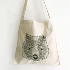Screen printed baby wombat/joey calico shoulder bag