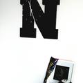 """BLACK WOODEN LETTER """"N"""" CLOCK"""