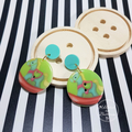 Rocking Horse Pastel Button Dangle Earrings - Acrylic - Glitter