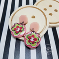 Pink Flowers - Button Dangle Earrings - Acrylic