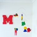"RED WOODEN LETTER ""M"" CLOCK"