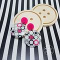 Hot Pink Bubbles - Button Dangle Earrings - Acrylic