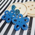 Blue Flower Button Dangle Earrings - Acrylic - Glitter