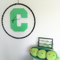 "GREEN WOODEN LETTER ""C"" CLOCK"