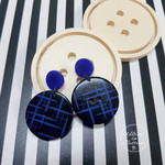 Black and Blue Sketches Button Dangle Earrings - Acrylic