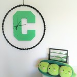 "GREEN WOODEN LETTER ""C"" CLOCK - ready made"