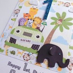 XLARGE custom design happy birthday  jungle elephant jeep lion monkey card
