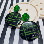 Black and Green Sketches Button Dangle Earrings - Acrylic