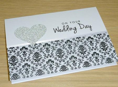 Wedding Day card - black & silver