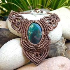 Bloodstone Macrame Necklace