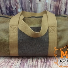 Distressed Faux Leather Barrel Duffle Bag With Handles & Adjustable Strap