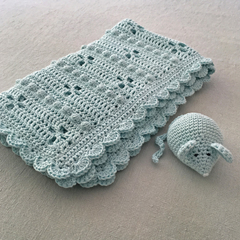 Crochet Baby Blanket & Mouse Set Soft Aqua