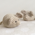 Beige Crochet Mouse Softie - Baby Shower Photography Props Birthday
