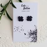 Cross Textured Studs Black