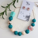 Floral Jewellery Set - Teal