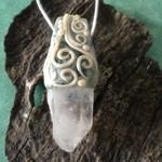 Himalayan Quartz Crystal, Fimo Necklace