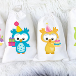 Birthday Owls Party Favour Bags Qty 6 in A5 Size