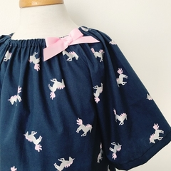 Size 3 - Smock Dress - Unicorns - Navy -  Peasant Dress - Metallic