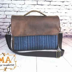 Classic Navy Stripe and Two Tone Brown Leatherette Satchel Laptop Bag Brief Case