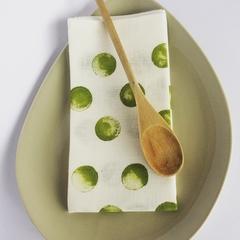 Linen Fabric Table Napkins | Serviettes | Polka Dot | Spot | Set 2 Olive Green