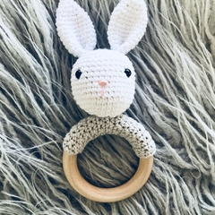 Crochet bunny rattle wooden ring Easter baby gift