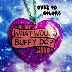 What Would Buffy Do Resin Necklace, Pastel Goth, Soft Grunge, Tumblr, Kawaii