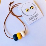 polymer clay navy, yellow and white beads necklace and polymer clay earrings set