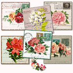 Vintage Postcards Floral Italy France USA Germany Printables