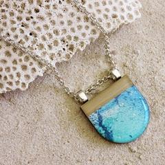 Ocean Inspired Wooden Pendant Necklace