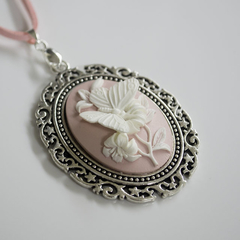 Pastel Pink & Ivory Butterfly Cameo Necklace