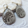 Monochrome Grey Black and White Print 18 x 25mm Resin Earrings hung from tall fr
