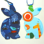 Bunny Garland for Boys, Birthdays, Baby Showers, double sided fabric
