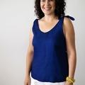 Women's Tie Shoulder Top in Linen