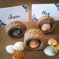 Set of 6 Rustic place card holders, Hemp Rope Place Card Holders, Napkin Ring