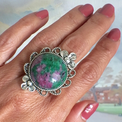 2 Choices: Genuine Ruby in Zoisite and Agate, Flower Ring Adjustable Size.