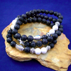 Genuine Black LAVA STONE and White Howlite Gemstone Beads, BUDDHA 3 Bracelets.