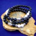 Genuine Black LAVA STONE and White Howlite Gemstone Beads, BUDDHA 3 Bracelets.