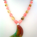 Half-Moon Dragons Veins AGATE and Cherry Quartz & Lodolite Colorful Necklace.
