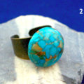 Brisbee Copper Turquoise round Cabochon, Copper 1 Ring, Adjustable Size.