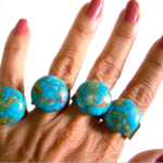 Brisbee Copper Turquoise round Cabochon, Copper Ring, Adjustable.