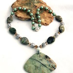 Genuine Forest Jasper,  Crystal & Pearls Necklace.