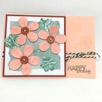 Birthday Card - Flower Collage, Peach