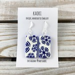 Handcrafted polymer clay earrings with sterling silver hooks- indigo shibori