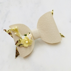 Ivory cream  leather mini floral Hair Bow , Birthday Bow
