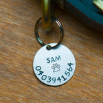 Dog Name Tag, Hand stamped, Personalized,  25mm Aluminium