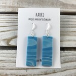 Handcrafted blue waves polymer clay earrings sterling silver hooks