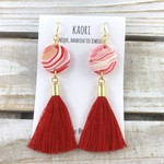 Handcrafted polymer clay statement tassel earrings with gold plated hooks